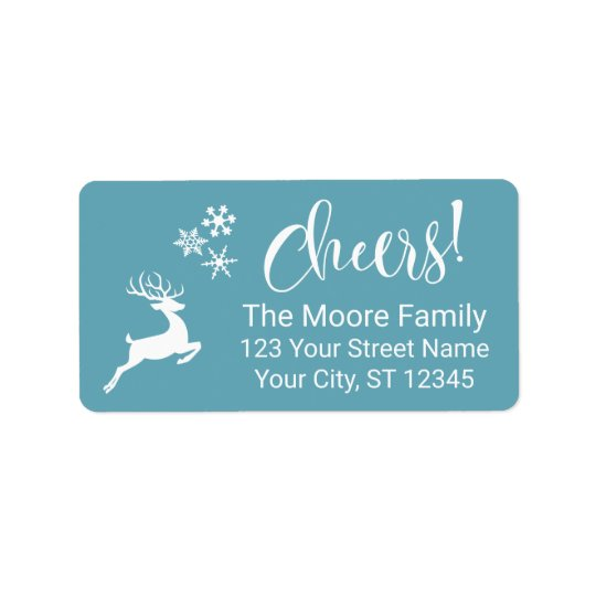 "White ""Cheers!"" w/ Reindeer & Snowflakes Address Label"