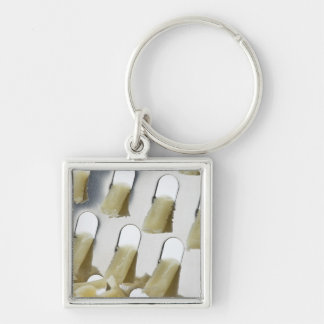 white cheese, cheddar, stainless cheese grater Silver-Colored square key ring