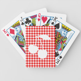 White Cherries Red Gingham Bicycle Playing Cards