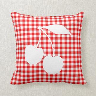 White Cherries Red Gingham Cushion