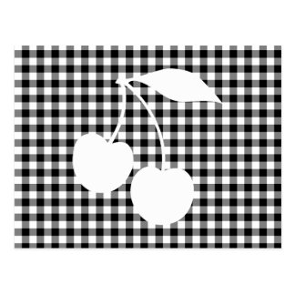 White Cherries with Black Gingham Postcard