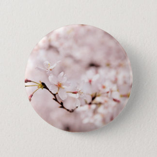 White Cherry Blossom Bokeh Button
