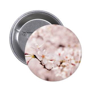 White Cherry Blossom Bokeh Button