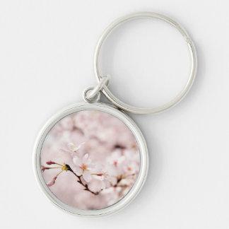 White Cherry Blossom Bokeh Keychain