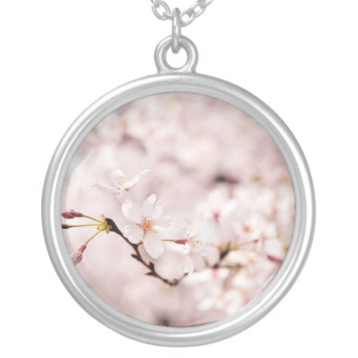 White Cherry Blossom Bokeh Necklace