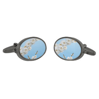 White Cherry Blossom Gunmetal Finish Cuff Links
