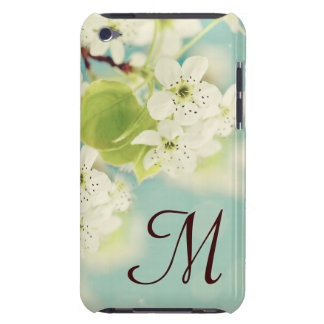 White Cherry Blossom Monogram Initial IPOD Touch Case-Mate iPod Touch Case