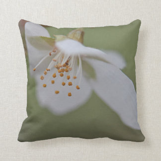 White cherry blossom throw pillow