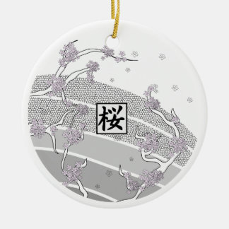 White Cherry Blossom Tree Round Ceramic Decoration