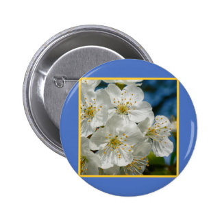 White cherry Blossoms 02, Spring 6 Cm Round Badge