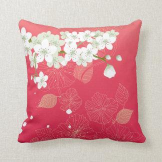 White cherry blossoms cushion