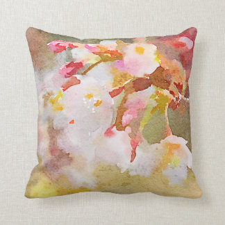 White Cherry Blossoms Digital Watercolor Painting Cushion
