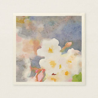 White Cherry Blossoms Digital Watercolor Painting Paper Napkins