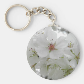 White Cherry Blossoms Photo Basic Round Button Key Ring