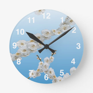 White Cherry Blossoms Round Clock