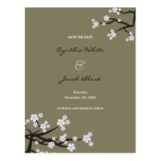 White Cherry Blossoms Sakura Asian Save The Date Postcard