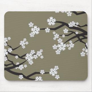 White Cherry Blossoms Sakura Flowers Zen Mousepad