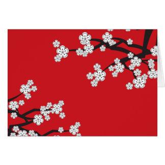 White Cherry Blossoms Sakura Spring Flowers Branch Cards