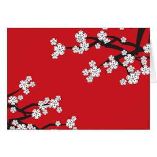 White Cherry Blossoms Sakura Spring Flowers Branch Note Card