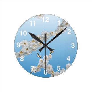 White Cherry Blossoms Wallclock