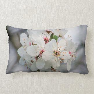 White Cherry Floral Lumbar Cushion
