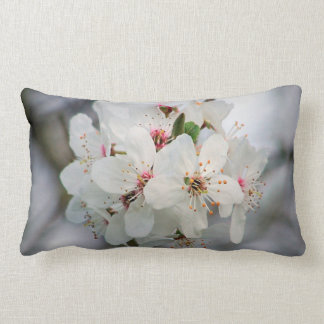 White Cherry Floral Lumbar Pillow