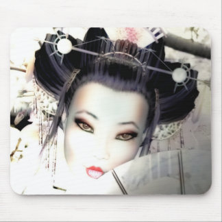 White Cherry Geisha Mouse Mat