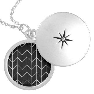 White Chevron Black Background Modern Chic Round Locket Necklace