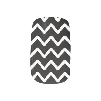 White Chevron on Black Minx Nail Art
