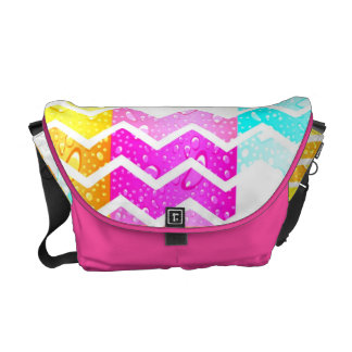 White chevron on creative water droplets pastels messenger bags