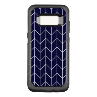 White Chevron on Navy Blue Modern Chic OtterBox Commuter Samsung Galaxy S8 Case