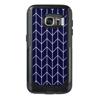 White Chevron on Navy Blue Modern Chic OtterBox Samsung Galaxy S7 Case