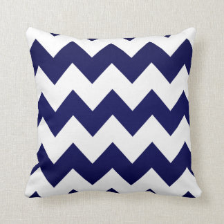 White Chevron Pattern on Navy Blue Cushion