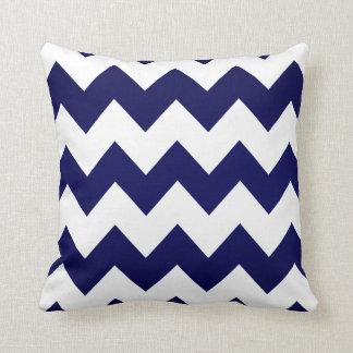 White Chevron Pattern on Navy Blue Throw Pillow