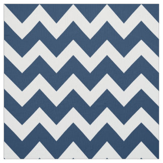 White Chevron Stripes | Navy Blue Pattern Fabric