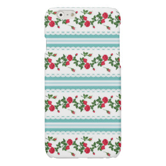 White Chic Stylish Ribbons and Red Roses Glossy iPhone 6 Case