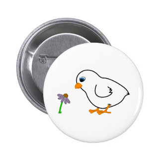 White Chick with Purple Coneflower 6 Cm Round Badge