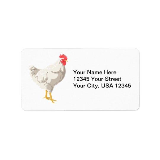 White Chicken Address Label
