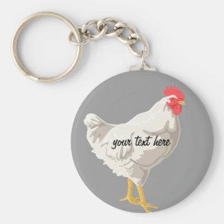 White Chicken Basic Round Button Key Ring