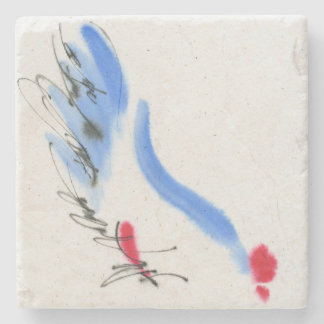White chicken. Calligraphy and watercolor Stone Coaster