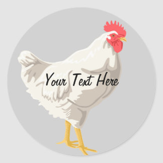 White Chicken Classic Round Sticker