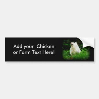 White Chicken in Green Grass Bumper Sticker