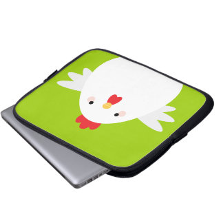 White Chicken on Green Electronics Sleeve Computer Sleeves