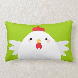 White Chicken on Green Lumbar Pillow