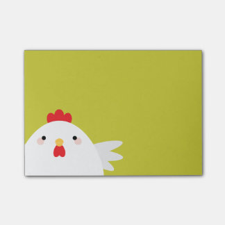 White Chicken on Green Post-It Notes