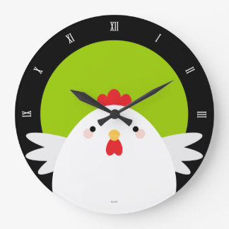 White Chicken on Green (Roman) Wall Clock