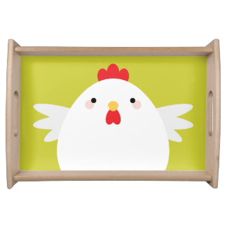 White Chicken on Green Serving Tray