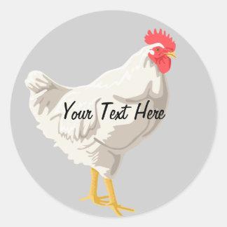 White Chicken Round Sticker