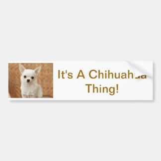 White Chihuahua Car Bumper Sticker