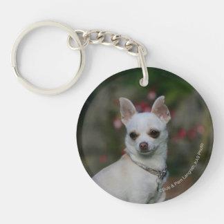 White Chihuahua Key Ring